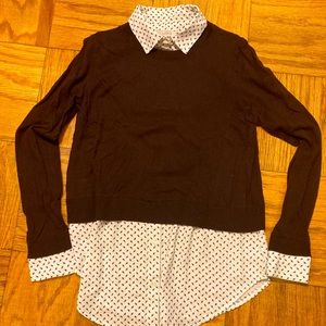 LOFT: Maroon Sweater with Blouse Collar and Bottom